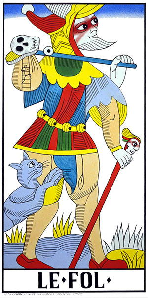 The Fool Card. Michele's version of the Marseille Tarot.