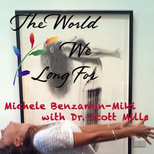 Figure mimicking pose in front of Michele Benzamin-Miki image. World We Long For.