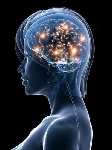 Abstract human portrait with illuminated head.